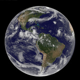Satellite Image of Earth And Three Tropical Cyclones Photographic Print by Stocktrek Images