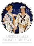 Vintage World War II Poster of Liberty Shaking Hands with a Sailor Photographic Print by Stocktrek Images