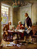 Digitally Restored Vector Painting of the Writing of the Declaration of Independence Photographic Print by Stocktrek Images