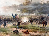 Civil War Painting of Union And Confederate Troops Fighting at the Battle of Antietam Photographic Print by Stocktrek Images