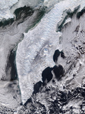 Satellite View of Kamchatka Peninsula, Eastern Russia Photographic Print by Stocktrek Images