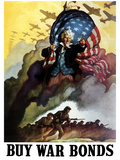 WWII Poster of Uncle Sam Holding An American Flag And Urging Troops Into Battle Photographic Print by Stocktrek Images