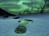 Aurora Borealis Over a Frozen River, Norway Photographic Print by Stocktrek Images