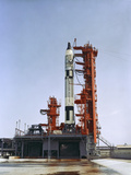 Gemini 5 Spacecraft On Its Launch Pad Photographic Print by Stocktrek Images