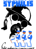 World War II Poster of a Soldier Wearing a Gas Mask And Men in Overalls Marching Photographic Print by Stocktrek Images