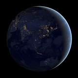 Full Earth at Night Showing City Lights of Asia And Australia Photographic Print by Stocktrek Images