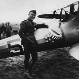 Digitally Restored Vector Artwork of Eddie Rickenbacker Standing Next His Fighter Plane Photographic Print by Stocktrek Images