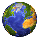 Full View of the Earth Showing Topographic Data Photographic Print by Stocktrek Images