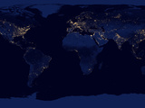 Flat Map of Earth Showing City Lights of the World at Night Reprodukcja zdjęcia autor Stocktrek Images