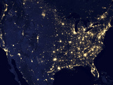 City Lights of the United States at Night Photographic Print by Stocktrek Images