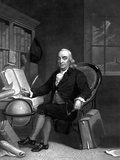 Vintage American History Print of Benjamin Franklin Doing Research in His Study Photographic Print by Stocktrek Images
