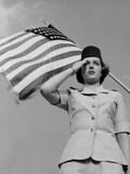 A Woman in the Air Force Officer Gestures a Salute Photographic Print by Stocktrek Images