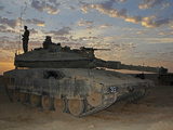 A Morning Prayer On An Israel Defense Force Merkava Mark IV Battle Tank Photographic Print by Stocktrek Images