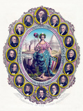 Digitally Restored Print Featuring Lady Liberty And the First Sixteen Presidents Photographic Print by Stocktrek Images