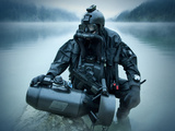 Special Operations Forces Combat Diver with Underwater Propulsion Vehicle Photographic Print by Stocktrek Images