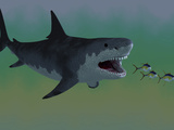 Several Tuna Fish Try To Escape from a Huge Megalodon Shark Photographic Print by Stocktrek Images