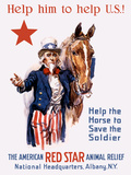 Vintage World War I Poster of Uncle Sam with a Horse Photographic Print by Stocktrek Images