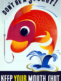 Vintage WW2 Poster of a Colorful Fish Jumping from a Pond Photographic Print by Stocktrek Images