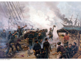 Vintage American Civil War Print of the Battle of Cherbourg Photographic Print by Stocktrek Images