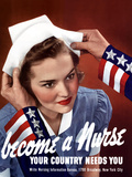 World War Two Poster of Uncle Sam Placing a Hat On a Smiling Nurse Photographic Print by Stocktrek Images