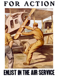 World War I Poster of a U.S. Airman Cranking the Propeller of An Airplane Photographic Print by Stocktrek Images