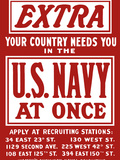 Vintage World War II Poster Is a Plea For Navy Recruits Photographic Print by Stocktrek Images