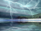 Thunderclouds And Lightning Move Over the Mountains And a Nearby Lake Photographic Print by Stocktrek Images