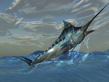 An Iridescent Blue Marlin Bursts from Ocean Waters Photographic Print by Stocktrek Images