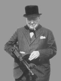 Digitally Restored Vector Photo of Sir Winston Churchill with a Tommy Gun Photographic Print by Stocktrek Images