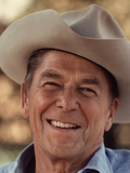 Digitally Restored Vector Portrait of President Ronald Reagan Wearing a Cowboy Hat Photographic Print by Stocktrek Images