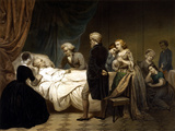 Vintage American History Print of President George Washington On His Deathbed Photographic Print by Stocktrek Images