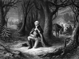 Vintage Revolutionary War Print of General George Washington Praying at Valley Forge Photographic Print by Stocktrek Images