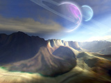 Mountainous Landscape On a Futuristic World with Two Beautiful Moons Photographic Print by Stocktrek Images