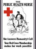 Vintage World War I Poster of a Red Cross Nurse Riding On Horseback Photographic Print by Stocktrek Images
