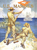 Vintage World War One Poster of Two Marines Signaling a Ship with a Flag Photographic Print by Stocktrek Images
