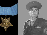 Digitally Restored Vector Portrait of Sergeant John Basilone And the Medal of Honor Photographic Print by Stocktrek Images