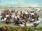 Vintage Military Print of the Battle of Little Bighorn Photographic Print by Stocktrek Images