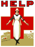 Vintage World War One Poster of a Red Cross Nurse Holding Out Her Arms Photographic Print by Stocktrek Images