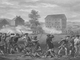 Revolutionary War Print of American Minutemen Being Fired Upon by British Troops Photographic Print by Stocktrek Images