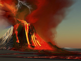 The Kilauea Volcano Erupts On the Island of Hawaii with Plumes of Fire And Smoke Photographic Print by Stocktrek Images