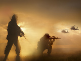U.S. Special Forces Provide Security For Two Incoming UH-60 Black Hawk Helicopters Photographic Print by Stocktrek Images