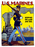World War II Poster of a U.S. Marine Marching Along a Dock Photographic Print by Stocktrek Images