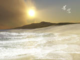 Two White Doves Fly Over Waves Coming To Shore On a Remote Beach Photographic Print by Stocktrek Images