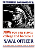 Vintage World War II Poster of a U.S. Naval Officer Holding Binoculars Photographic Print by Stocktrek Images