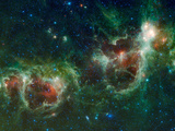 Infrared Mosaic of the Heart And Soul Nebulae in the Constellation Cassiopeia Photographic Print by Stocktrek Images