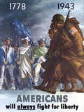 War Poster of American Infantryman Marching Past Minutemen Photographic Print by Stocktrek Images