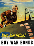 Vintage World War II Poster of a Fighter Pilot Climbing Into His Airplane Photographic Print by Stocktrek Images