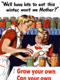 Vintage World War II Poster of a Mother And Daughter Canning Vegetables Photographic Print by Stocktrek Images