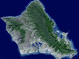 Satellite Image of Oahu, Hawaii Photographic Print by Stocktrek Images