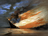 Vintage Civil War Painting of a Warship Burning in a Calm Sea Photographic Print by Stocktrek Images